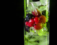 冰绿色玻璃用莓果鹅莓红色黑醋栗和水 刷新的鸡尾酒 玻璃水瓶柑橘饮料冰橙色夏天水 库存照片