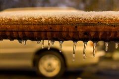 冰cycles_transportation_cold夜 免版税图库摄影