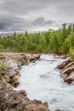 冲在山边下的猛烈河在北瑞典 免版税库存照片