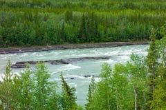 冲在春天期间的水在育空 免版税库存照片