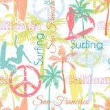冲浪与活跃妇女,棕榈树,和平的传染媒介加利福尼亚旧金山五颜六色的无缝的样式表面设计 库存照片