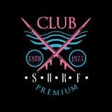 冲浪俱乐部优质商标estd 1975年,设计元素能为冲浪俱乐部使用,商店, T恤杉印刷品,象征,徽章,标签 皇族释放例证