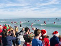 冲浪圣诞老人的可可比奇Fl 库存图片