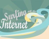 冲浪在互联网上。电子商务 库存图片