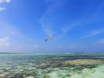 冲浪在加勒比海,洛斯罗克斯群岛,委内瑞拉的风筝冲浪和风 库存图片