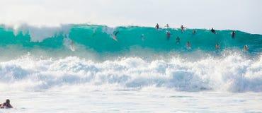 冲浪在夏威夷的大波浪 免版税库存图片