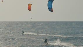 冲浪在大西洋,极端夏天体育的风筝 加那利群岛tenerife 股票录像