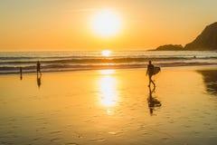冲浪在日落,阿尔加威,葡萄牙 库存图片