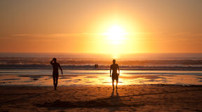冲浪在日落 库存图片