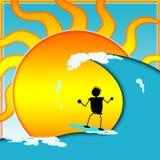 冲浪在晴天看板卡或标签 库存照片