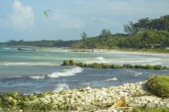 冲浪在牙买加的风筝2019年 免版税库存照片