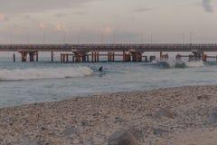 冲浪在男性,马尔代夫的一个小海滩的人们 免版税库存照片