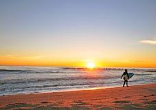 冲浪在巴塞罗那,西班牙 免版税库存图片