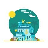 冲浪板商店平的设计  免版税库存图片