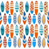 冲浪板水彩无缝的样式 免版税库存照片