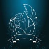 冲浪的例证和象征 海浪,棕榈树,太阳,在葡萄酒样式的丝带的风格化图象 印刷品或T石牌的例证 免版税库存照片