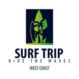 冲浪的商标和象征海浪的棍打或购物 也corel凹道例证向量 库存图片