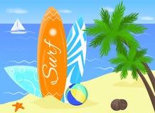 冲浪的海报 水橇板 皇族释放例证