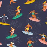 冲浪的男孩和女孩捉住波浪的水橇板的在海 使海岸塞浦路斯地中海沙子石头夏天海浪靠岸 模式无缝的向量 向量例证