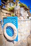 冲浪者只签字,定位点, Taghazout海浪村庄,阿加迪尔,摩洛哥 图库摄影