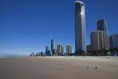 冲浪者在英属黄金海岸的天堂海滩 库存照片