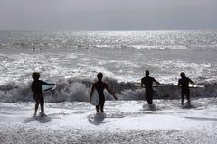 冲浪者在Levanto 库存照片