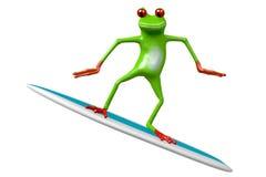 冲浪- 3D青蛙 免版税库存照片