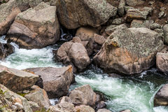 冲的小河河水通过十一英里峡谷科罗拉多 库存图片