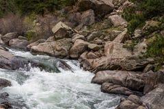 冲的小河河水通过十一英里峡谷科罗拉多 免版税库存图片