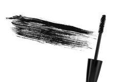 冲程(范例)黑色染睫毛油,查出在空白宏指令 库存图片