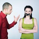 冲突夫妇年轻人 免版税库存图片