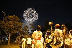冲绳岛- 10月8日:RBC公民节日在Onoyama公园,冲绳岛, 2016年10月8日的日本 免版税库存照片