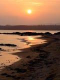 冲绳岛Kanna海滩日落  图库摄影
