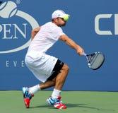 全垒打冠军美国公开赛的安迪Roddick实践在比利吉恩National Tennis Center国王 库存图片