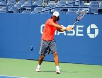 职业网球球员美国公开赛的福纳多Verdasco实践 免版税库存图片
