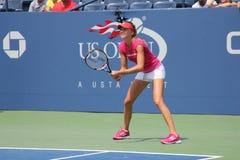 职业网球球员美国公开赛的达尼埃拉Hantuchova实践 免版税库存照片