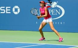 职业网球球员美国公开赛的达尼埃拉Hantuchova实践 免版税库存图片