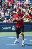 十七次全垒打冠军罗杰Federer为美国公开赛实践在比利吉恩National Tennis Center国王 免版税图库摄影