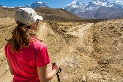 决定哪条道路的女性远足者采取 免版税库存照片