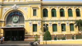 决定的WS慢平底锅主要邮局在HCMC,越南前面外部  影视素材