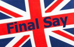 决赛在英国英国国旗旗子说写 免版税图库摄影