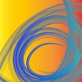 冷光和深蓝熏制的纤维在温暖的橙色背景成螺旋形 免版税库存照片