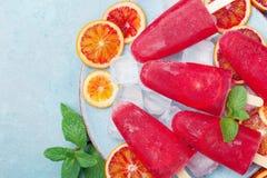 冷冻果汁 自创柑橘冰淇凌或冰棍儿装饰了薄荷叶和橙色切片在蓝色台式视图 图库摄影