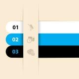 冷却三个颜色infographic标号组 向量例证