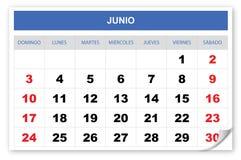 冷却并且想象日历2018西班牙语, 6月 库存例证
