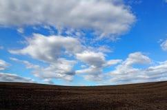 冷和干燥被犁的土地的背景在与蓝色和多云天空的冬天 免版税库存图片