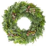 从冷杉、杉木和云杉的枝杈的圣诞节花圈有锥体的 库存图片