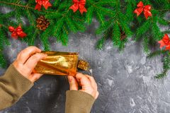 冷杉分支与锥体,并且红色鞠躬在灰色具体背景顶部 新年圣诞节 有袋子的手礼物 图库摄影