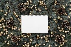 冷杉分支冬天背景  用中看不中用的物品和金黄锥体装饰 袋子看板卡圣诞节霜klaus ・圣诞老人天空 顶视图 Xmas祝贺 图库摄影