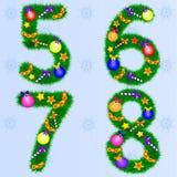 冷杉分支的数字与新年的玩具的 库存例证